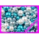 ~80ks~ Voskované perly Ø4-12mm ~ NEBESKÝ mix