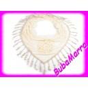 Šátek s třásněmi a květem růže ~ 60x160cm~ modrý
