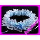 ~ Svatební podvazek ~ modrobílý s volánkem a květy