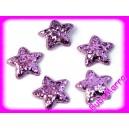4ks ~ Hvězda s flitry~ Ø35mm ~ sv. fialová