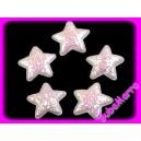 4ks ~ Hvězda s flitry~ Ø35mm ~ bílá AB