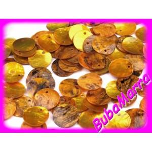 10ks~ Perleťové korálky ~ placička ~Ø15mm~ ŽLUTÁ